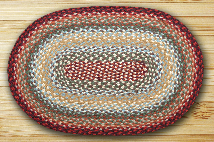 Thistle Green Country Red Braided Jute Oval Area Rug 417