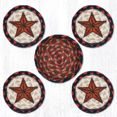 Barn Stars 29-CNB019BS Coasters In A Basket 5x5 Set of 4