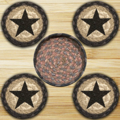Black Stars 29-CNB099BS Coaster In Basket 5x5 Set of 4