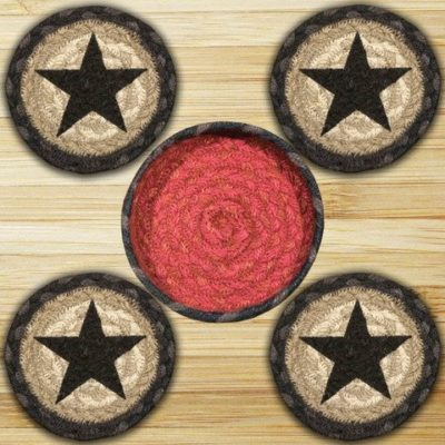 Black Stars 29-CNB238BS Coasters In A Basket 5x5 Set of 4