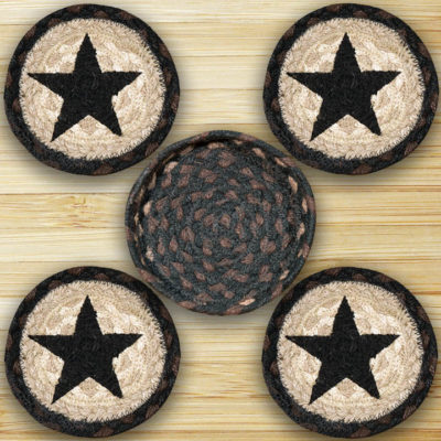 Black Stars 29-CNB313BS Coaster In Basket 5x5 Set of 4