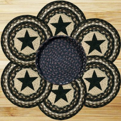 Black Stars 56-TNB313BS Trivet In Basket 10x10 Set of 6