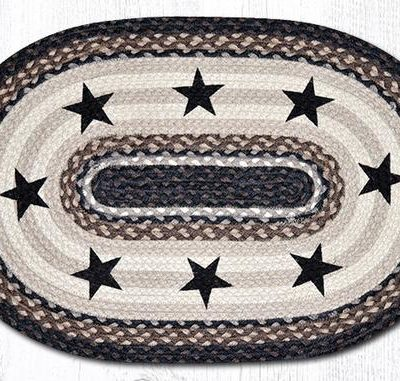 Black Stars 65-313BS Oval Area Rug 20x30