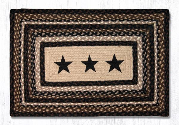 Black Stars Braided Jute Rectangle Area Rug 313 Morning Star Home Accents
