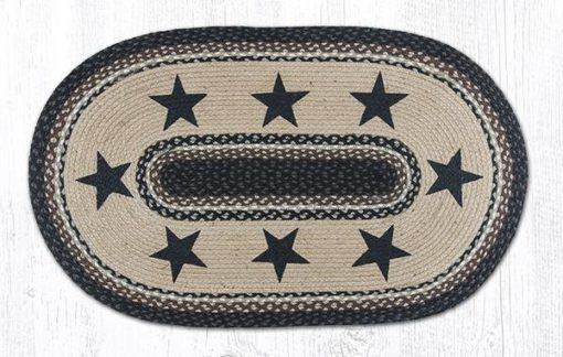 Black Stars 88-2745-313BS Oval Area Rug 27x45