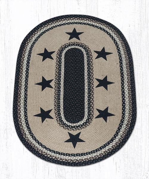 Black Stars 88-35-313BS Oval Area Rug 3' x 5'