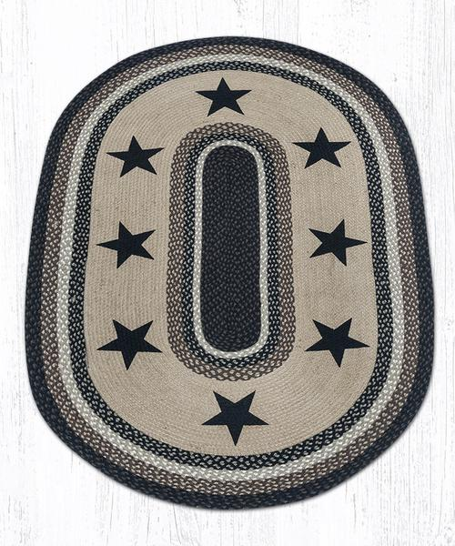 Black Stars 88-46-313BS Oval Area Rug 4' x 6'