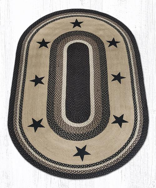 Black Stars 88-58-313BS Oval Area Rug 5' x 8'