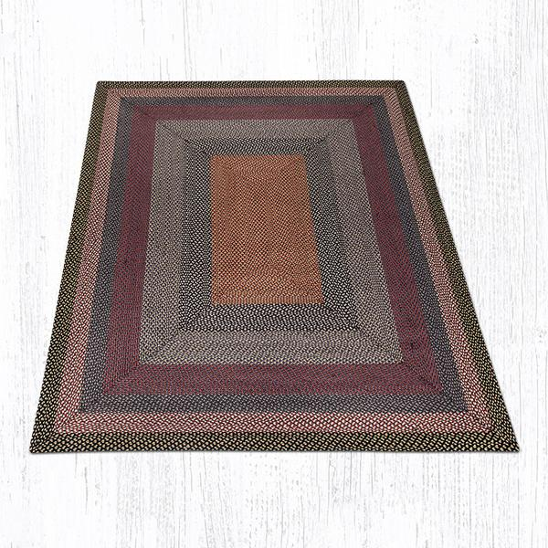 Burgundy Blue Gray Braided Jute Rectangle Area Rug 043
