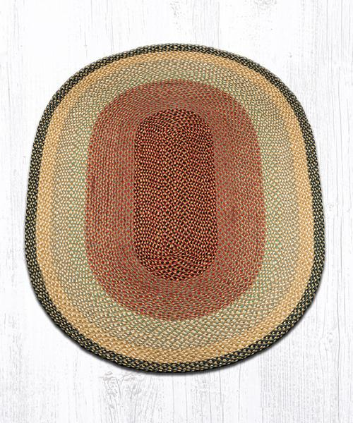 Burgundy Gray Cream Braided Jute Oval Area Rug 057