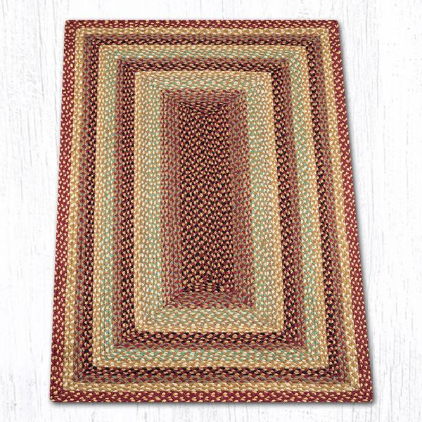Burgundy Gray Cream Braided Jute Rectangle Area Rug 357