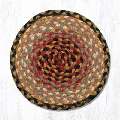 Burgundy Gray Cream 46-057 Round Trivet 10x10