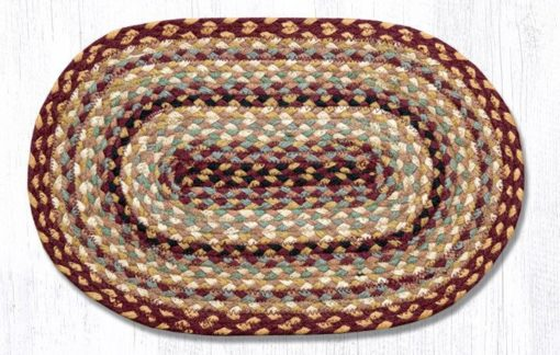 Burgundy Gray Cream 52-PM357 Oval Placemat 13x19