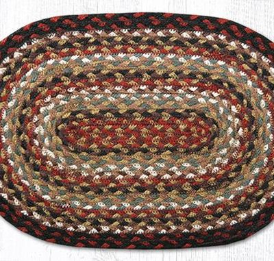 Burgundy Mustard Ivory 00-319 Oval Accent Mat 10x15