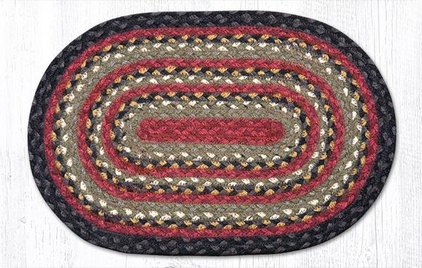 Burgundy Olive Charcoal 00-338 Oval Accent Mat 10x15