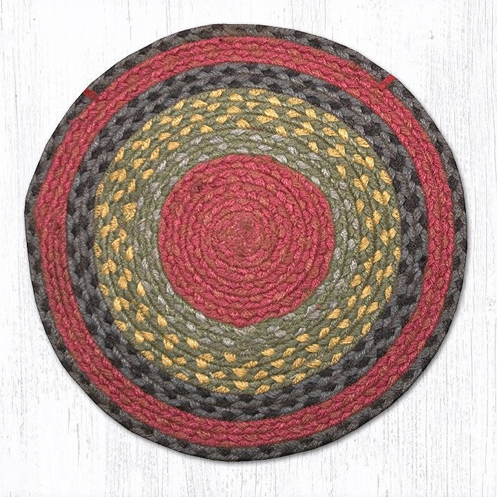 Burgundy Olive Charcoal Braided Jute Round Chair Pad 238 ...
