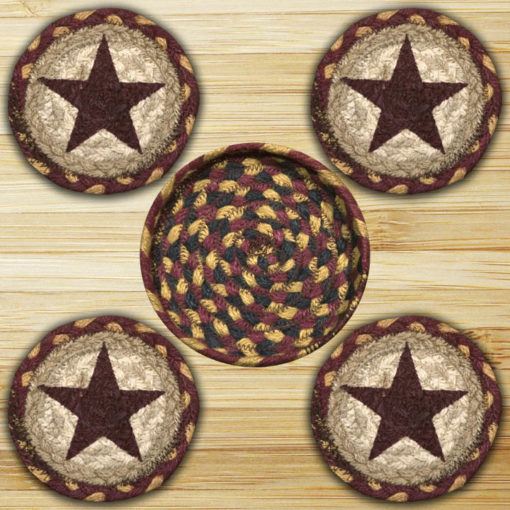 Burgundy Stars 29-CNB357BS Coaster In Basket 5x5 Set of 4