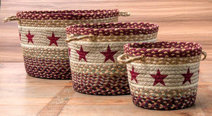Burgundy Stars 38-UBP357BS Utility Baskets 3 Sizes