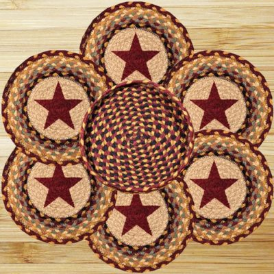 Burgundy Stars 56-TNB357BS Trivet In Basket 10x10 Set of 6