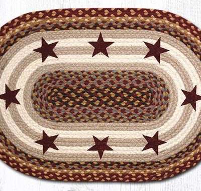 Burgundy Stars 65-357BS Oval Area Rug 20x30