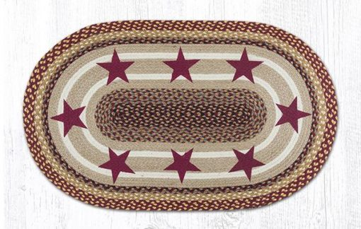 Burgundy Stars 88-2745-357BS Oval Area Rug 27x45