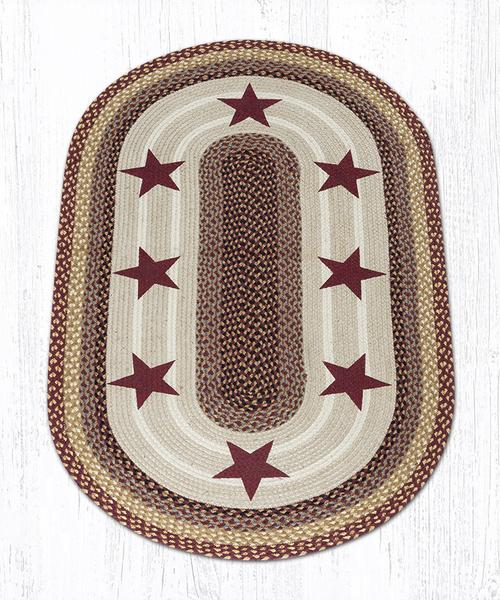 Burgundy Stars 88-35-357BS Oval Area Rug 3' x 5'