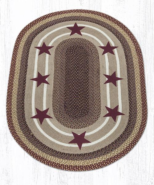 Burgundy Stars 88-46-357BS Oval Area Rug 4' x 6'