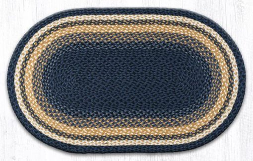 Light & Dark Blue Mustard Oval Area Rug 27x45