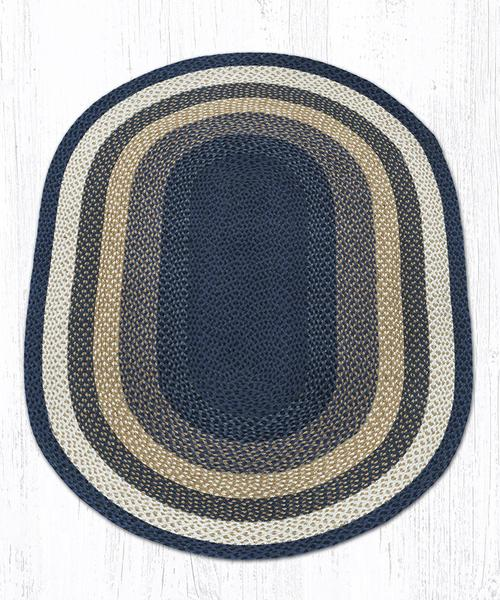 Light & Dark Blue Mustard Braided Jute Oval Area Rug 079