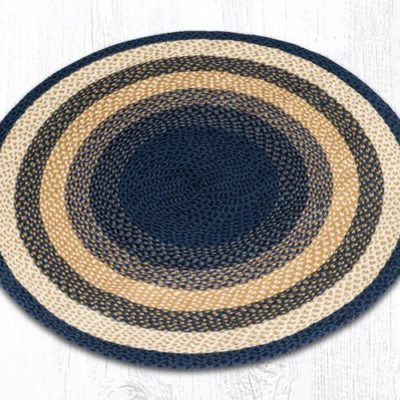 Light & Dark Blue Mustard 15-079 Round 4'x4'