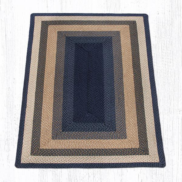 Light Amp Dark Blue Mustard Braided Jute Rectangle Area Rug