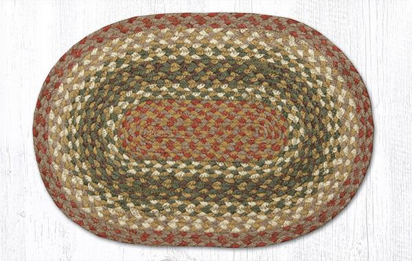 Olive Burgundy Gray 00-024 Oval Accent Mat 10x15