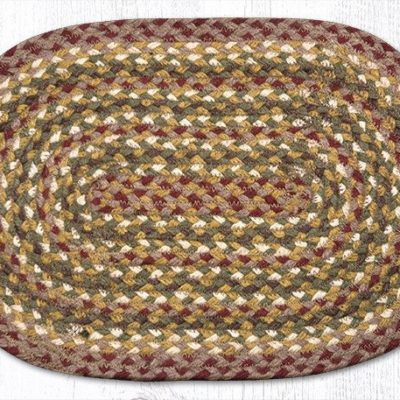 Olive Burgundy Gray 00-324 Oval Accent Mat 10x15