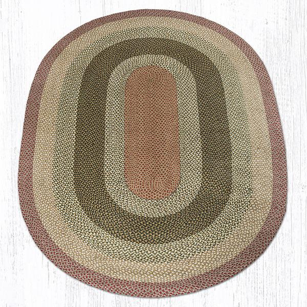 Olive Burgundy Gray Braided Jute Oval Area Rug 024