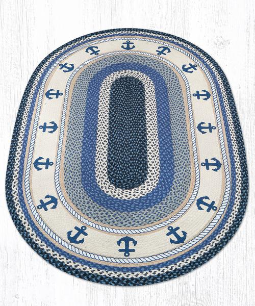 Navy Anchor Braided Jute Oval Area Rug 443