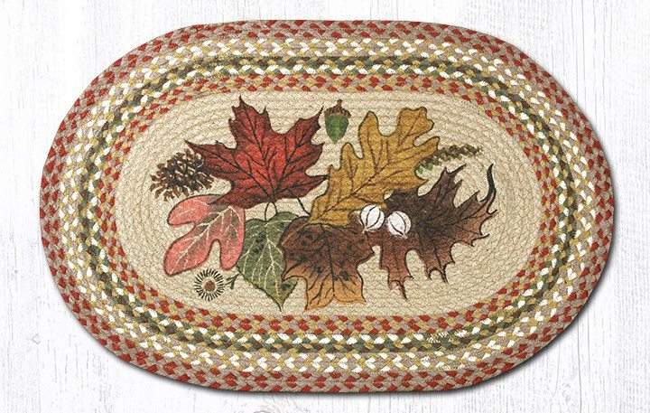 Autumn Leaves Braided Jute Oval Area Rug 024 Morning