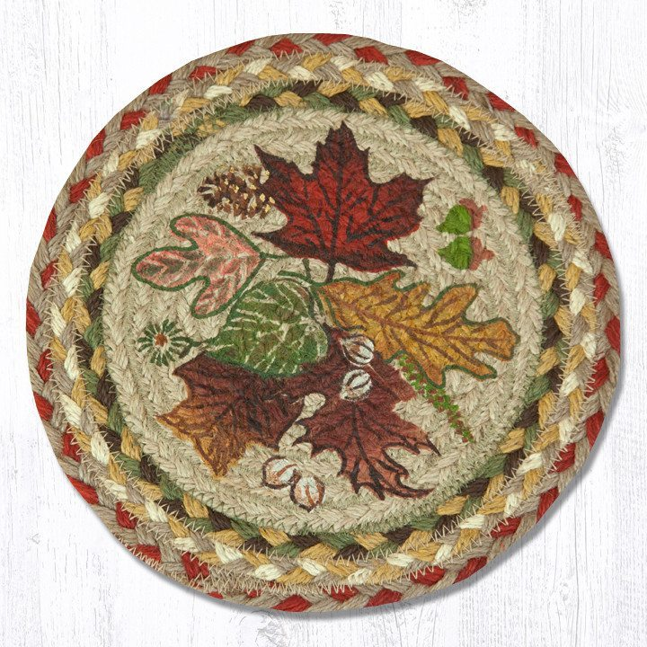 Autumn Leaves Braided Jute Round Trivet 024 Morning Star
