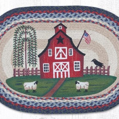 barn scene braided jute oval area rug 015bs