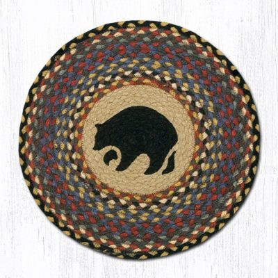 Black Bears Braided Jute Round Chair Pad 043