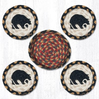 Black Bears 29-CB043BB Coasters In A Basket 5x5 Set of 4