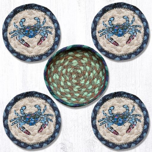 Blue Crab 29-CB359BC Coasters In A Basket 5x5 Set of 4