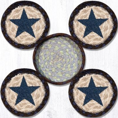 Blue Stars 29-CB312BS Coasters In A Basket 5x5 Set of 4