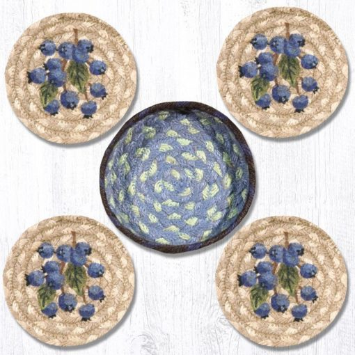Blueberry 29-CB312B Coasters In A Basket 5x5 Set of 4