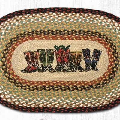 Boots Braided Jute Oval Area Rug 019B