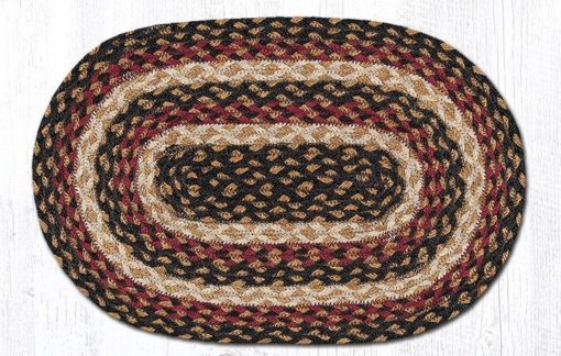 Burgundy Black Dijon 00-774 Oval Accent Mat 10x15
