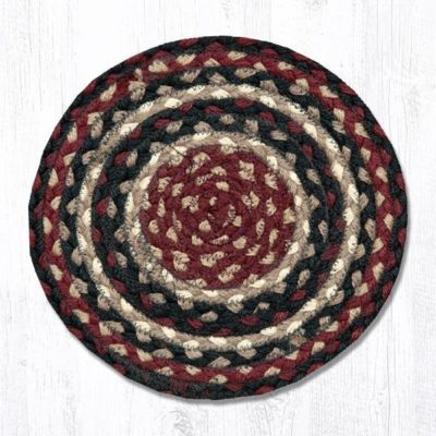 Burgundy Black Tan 46-344 Round Trivet 10x10
