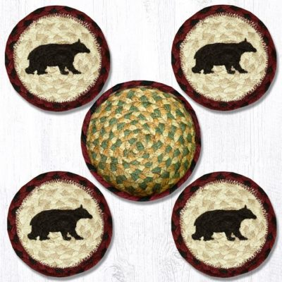 Cabin Bear 29-CB395CB Coasters In A Basket 5x5 Set of 4