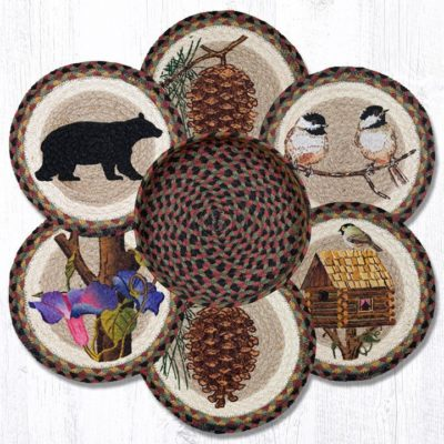 Cabin Bear 56-081CB Trivets In A Basket 10x10 Set of 6