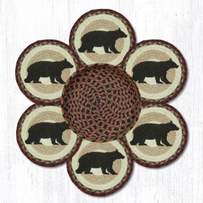 Cabin Bear TNB-395 Trivets In A Basket 10x10 Set of 6