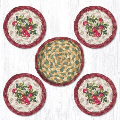 Cranberries 29-CB390C Coasters In A Basket 5x5 Set of 4
